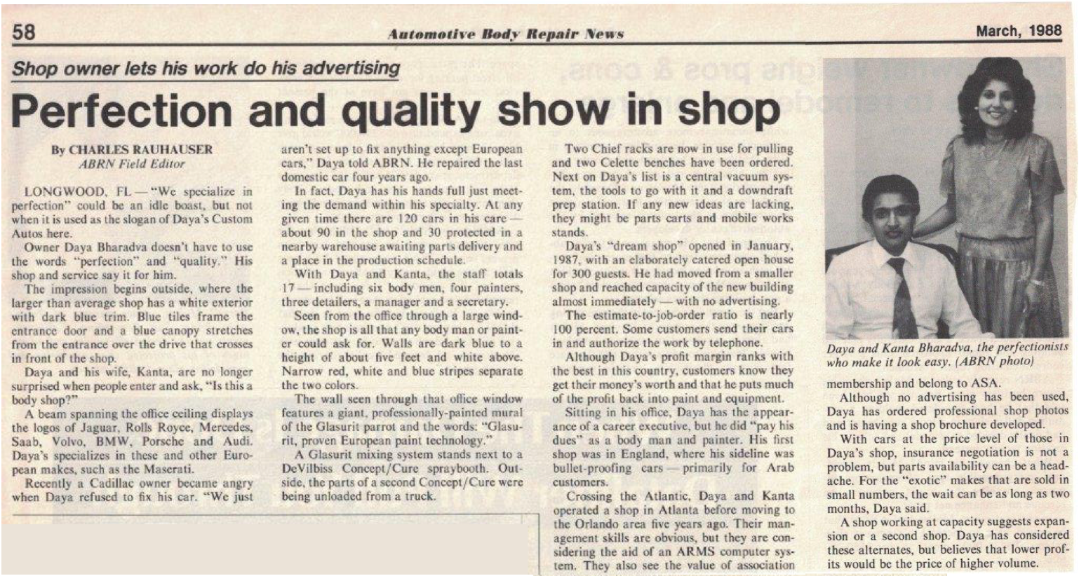 Newspaper clipping, Perfection and quality show in shop, about Daya's