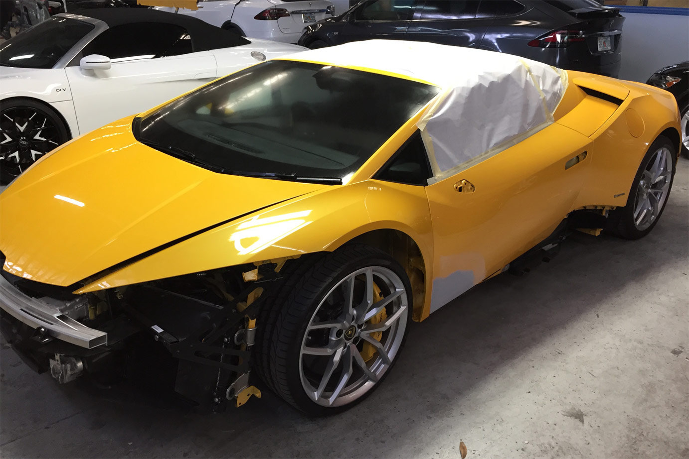 Daya's Lamborghini body shop repairs